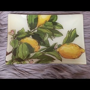 POTTERY BARN Lemon Tray Decoupage 10x6.5 NWT